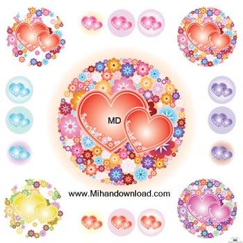Vector   Flowery Hearts وکتور زیبا و گرافیکی قلب   LOVE