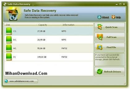 Safe%20Data%20Recovery%20v2.4 نرم افزار برگرداندن فایل های پاک شده از سیستم  Safe Data Recovery v2.4
