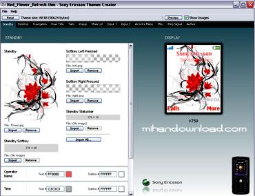 Theme Creator1 نرم افزار Theme Creator Sony Ericsson 3.6 جهت ساخت و ویرایش تم های سونی اریکسون